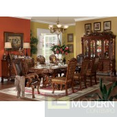 Dresden  Pedestal Base Formal Dining Set Cherry Oak Brown Finish
