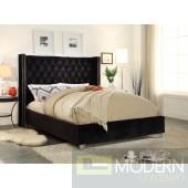 Aiden Black Velvet Platform Bed King