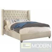 Aiden Cream Velvet Platform Bed Queen