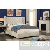 Aiden CREAM Velvet Platform Bed OPEN BOX