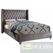 Aiden Grey Velvet Platform Bed Queen