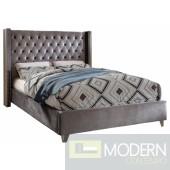 Aiden Grey Velvet Platform Bed King