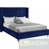 Aiden NAVY Velvet Platform FULL Bed OPEN BOX