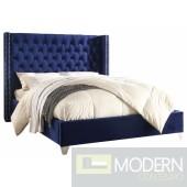 Aiden Blue Velvet Platform Bed King