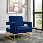 Athena Navy Blue Velvet Accent chair gold base INSTORE ITEM LOCAL DMV DEALS