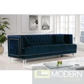 Luxury Modern Selene Navy Blue Velvet sofa on acrylic legs