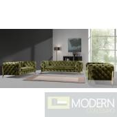 Lourdes Velour Modern Green Fabric Sofa Set