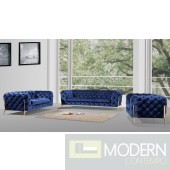 Eve Modern Dark Blue Velvet Sofa Set with Gold