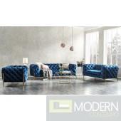 Lourdes Velour Modern Dark Blue Fabric Sofa Set