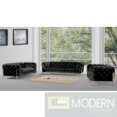 Lourdes Velour Modern Black Fabric Sofa Set