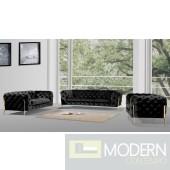 Lourdes Velour Modern Black Fabric Sofa Set