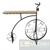 METAL & WOOD BIKE WINE RACK, BLACK