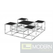 SKYLINE STAINLESS STEEL COCKTAIL TABLE, SILVER/BLACK GLASS