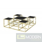SKYLINE STAINLESS STEEL COCKTAIL TABLE, GOLD/BLACK GLASS