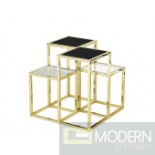 SKYLINE STAINLESS STEEL SIDE TABLE, GOLD/BLACK GLASS