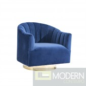 Velutto SWIVEL CHAIR W/ GOLD BASE,Navy blue