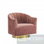 Velutto SWIVEL CHAIR W/ GOLD BASE,blush