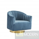 Velutto SWIVEL CHAIR W/ GOLD BASE,teal