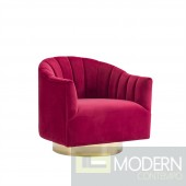 Velutto SWIVEL CHAIR W/ GOLD BASE, RED