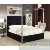 Pia King  Black Velvet Upholstered Canopy Bed LOCAL DMV DEALS