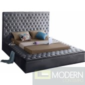 Hermes QUEEN GREY Velvet Bed with storage in footrest & side rails IN STORE OPEN BOX