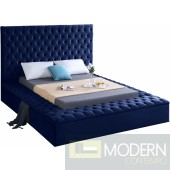 Hermes QUEEN NAVY Velvet Bed with storage in footrest & side rails IN STORE OPEN BOX
