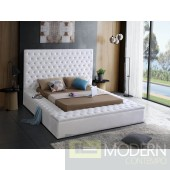 Hermes White Velvet Upholstered Bed LOCAL DMV DEALS