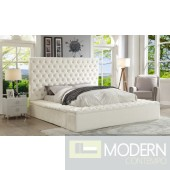 Hermes White Velvet Bed with storage in footrest & side rails