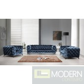 Lourdes Velour Modern Dark Blue Fabric Sofa Set