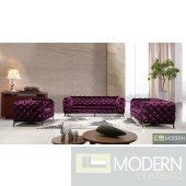 Lourdes Velour Modern Purple Fabric Sofa Set