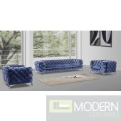 Lourdes Velour Modern Light Blue Fabric Sofa Set