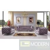 Capri Grey velvet sofa set  CHROME LEGS