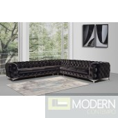 Lourdes Black velvet sectional