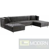 3Pc Bellissimo Grey velvet Sectional sofa