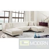 3Pc Bellissimo Cream velvet Sectional sofa
