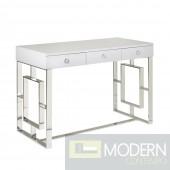 AKWA High Gloss White Lacquer Desk SILVER