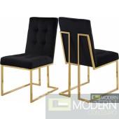 Silvia BLACK Velvet Dining Chair GOLD - Set of 2 INSTORE ITEM DMV deals