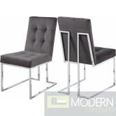 SIlvia Velvet Dining Chair Chrome