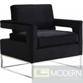 Athena Black Velvet Accent chair Chrome Base