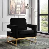 Athena Black Velvet Accent chair gold base INSTORE ITEM LOCAL DMV DEALS