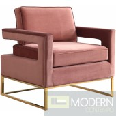 Athena Pink Velvet Accent chair gold base