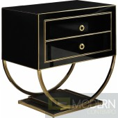 Amelie Black & gold Nightstand Side Table