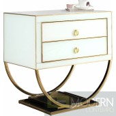 Amelie White & Gold Nightstand Side Table