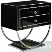 Amelie Black & Chrome Nightstand Side Table