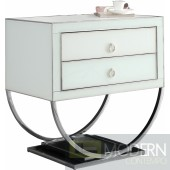 Amelie white & chrome Nightstand Side Table