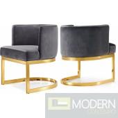 Gianna grey velvet armchair with gold base