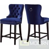 Amara Blue Velvet Counter Bar stools  - Set of 2