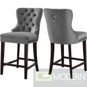 Amara GREY VELVET Counter Bar stools  - Set of 2