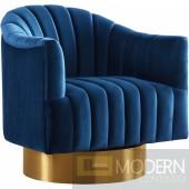 Farrah blue velvet swivel accent chair with gold base