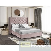 Aiden PINK Velvet Platform Queen Bed OPEN BOX
